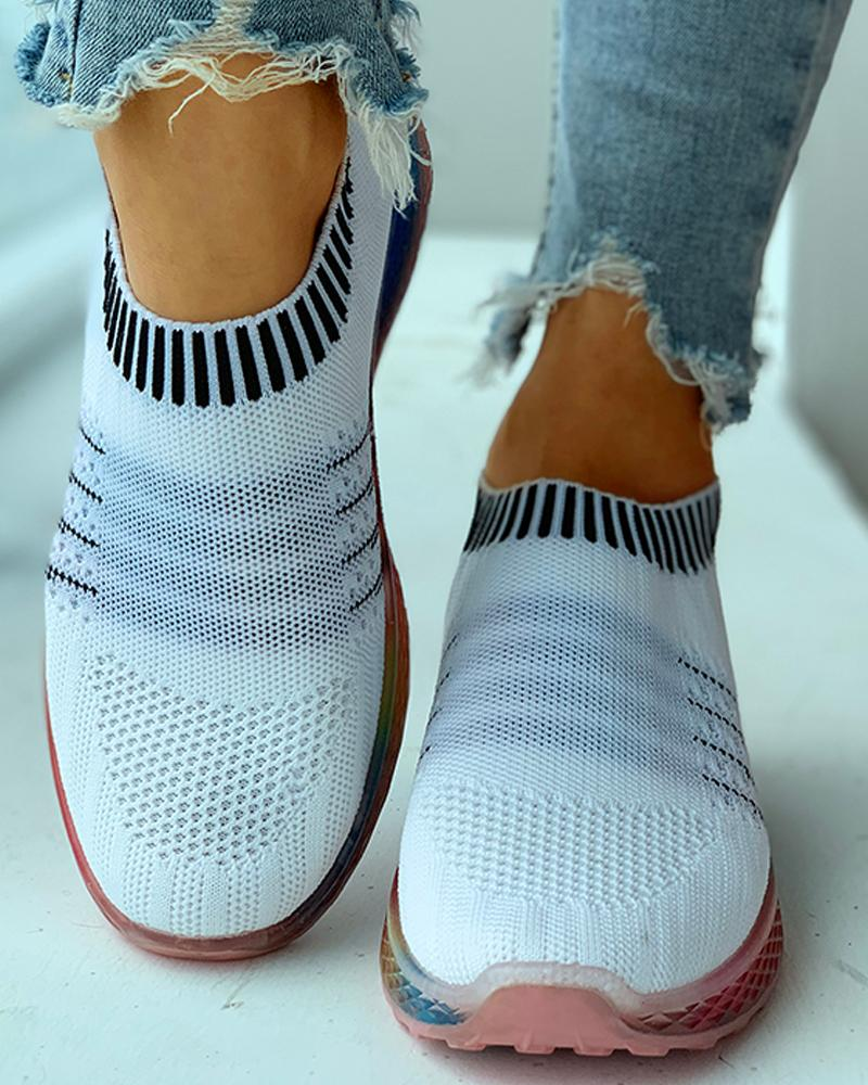 Striped Breathable Casual Sneakers