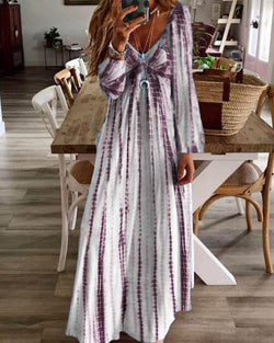 Tie-Dyed Casual Maxi Dress