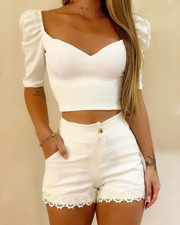 White V Neck Crop Tops And Shorts