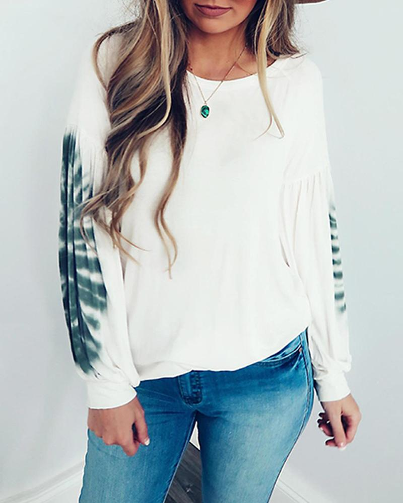 Round Neck Leaf Print Top