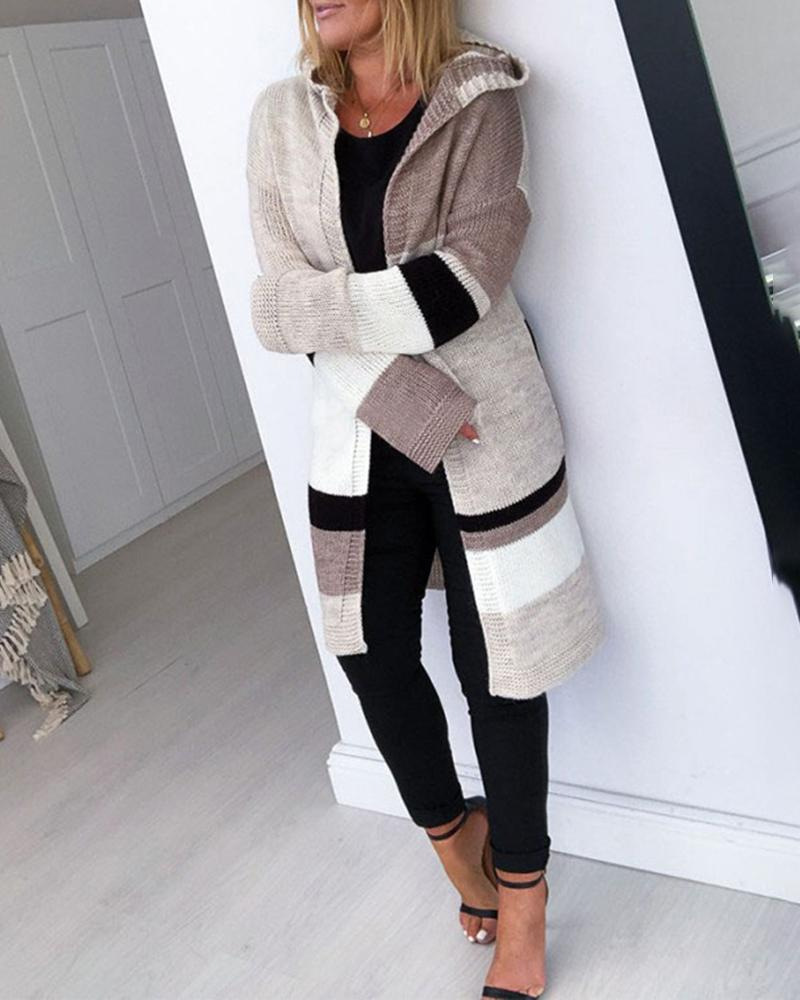 Hooded Colorblock Insert Knitting Longline Cardigan