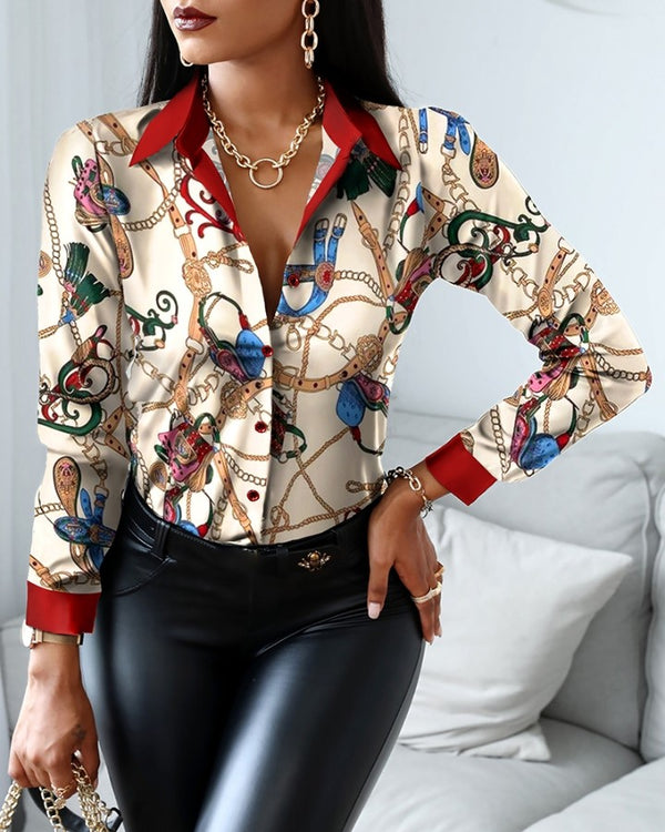 Chain Scarf Print Button Design Shirt