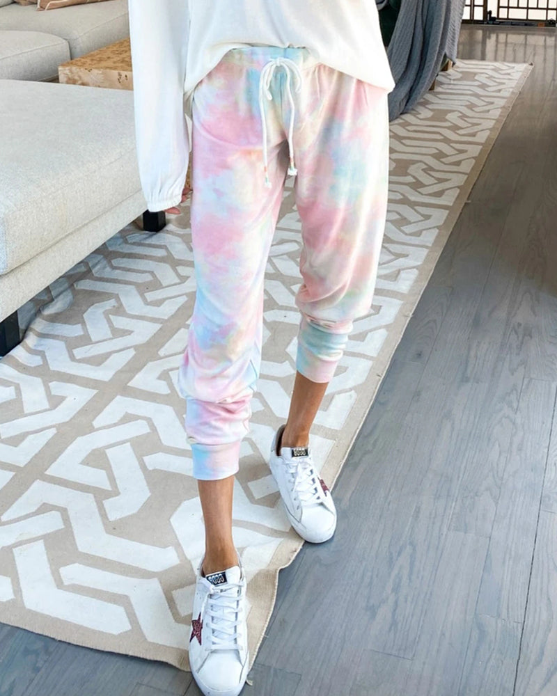 Tie Dye Print Drawstring Sweatpants