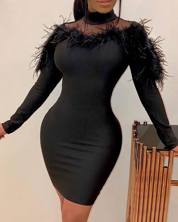 Feather Mesh Patchwork Bodycon Dress
