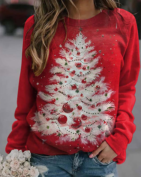 Christmas Mixed Print Long Sleeve Sweatshirt