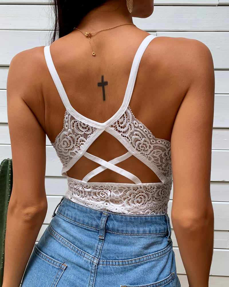 Crochet Lace Bandage Backless Top
