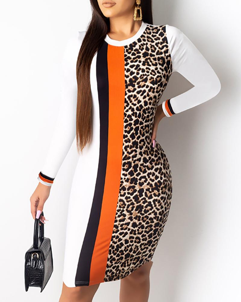 Colorblock Insert Leopard Print Dress