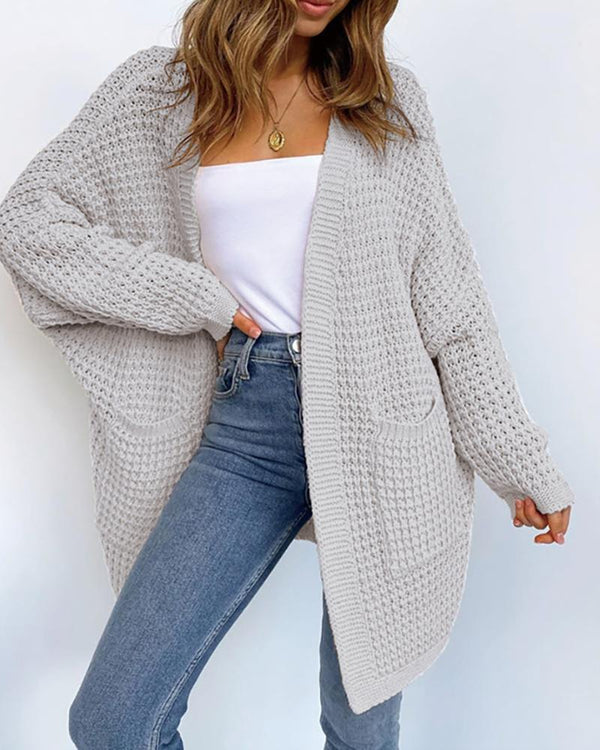 Open Front Long Sleeve Knitting Cardigan