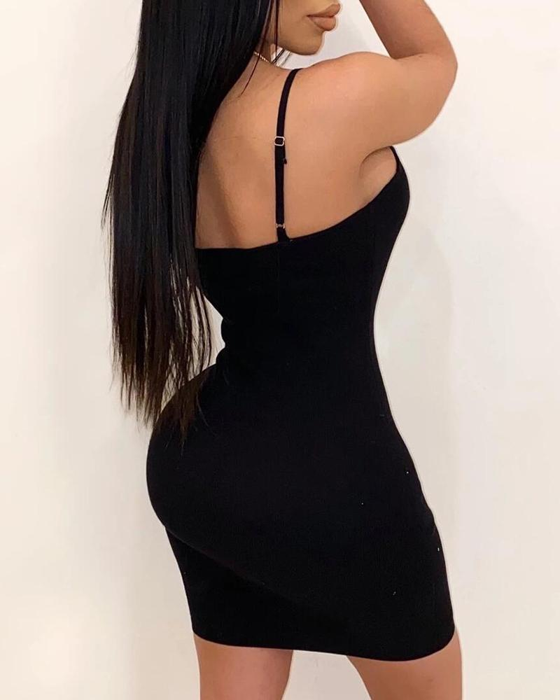 Spaghetti Strap Design Bodycon Dress