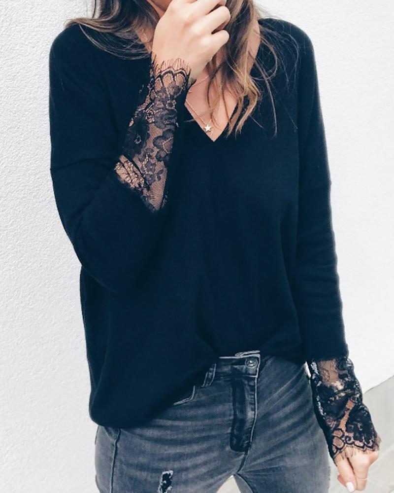 V Neck Lace Insert Casual Blouse