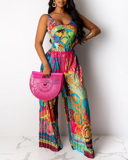 Thin Strap Abstract Print Pleated Wide Leg Jumpsuit