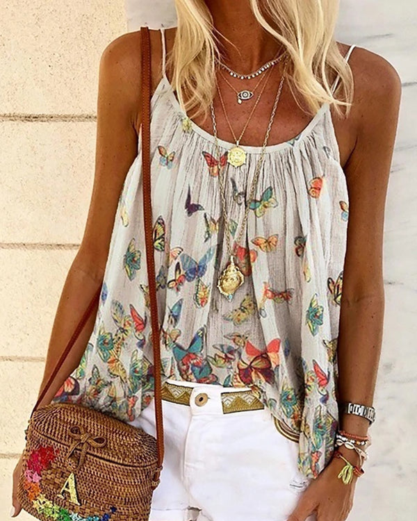 Butterfly Print Spaghetti Strap Casual Top