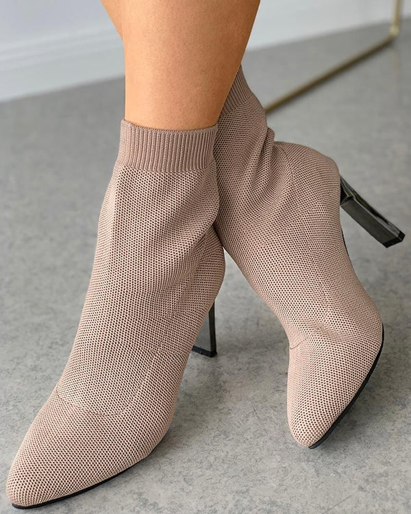 Pointed Toe Plain Heeled Sock Boots