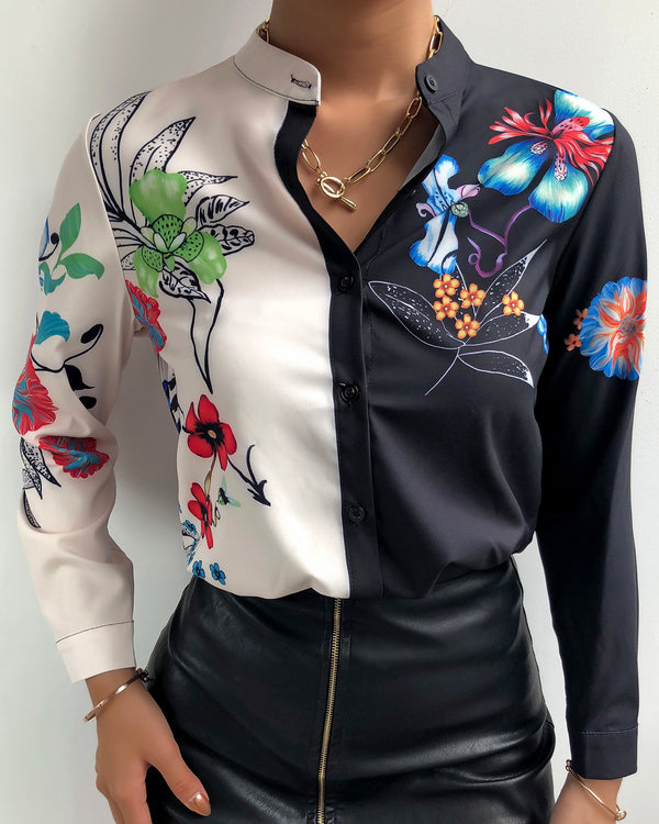 Colorblock Floral Print Casual Shirt