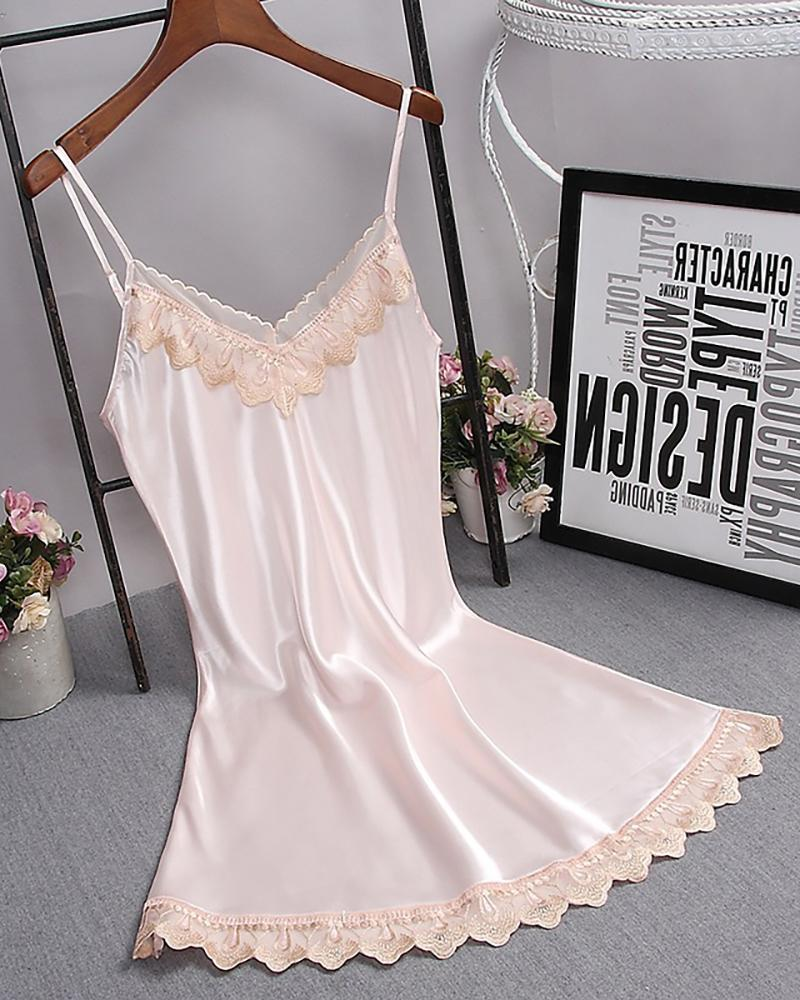 Spaghetti Strap Lace Trim Satin Sleepwear Cami Dress