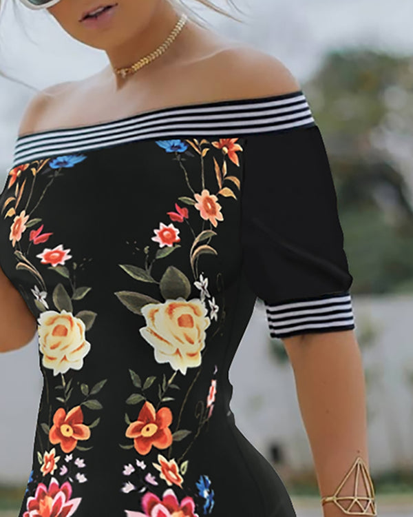 Off Shoulder Floral Print Striped Dress