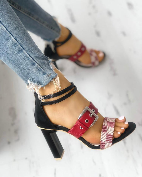 Grid Buckled Zipper Chunky Heeled Sandals