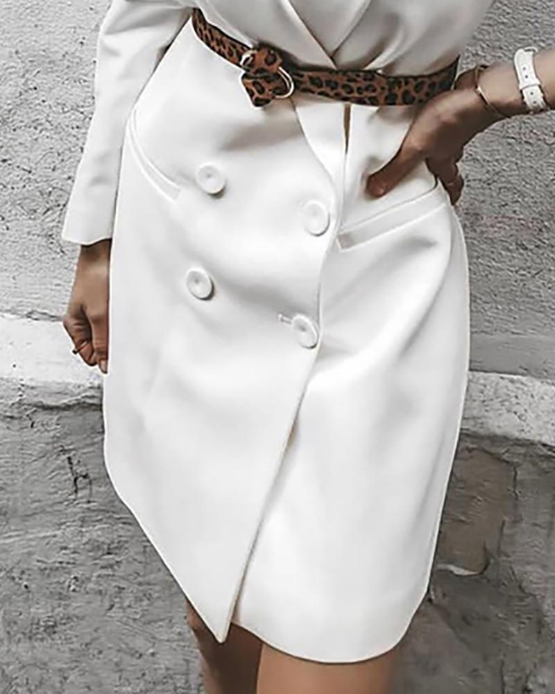 Solid Double Breasted Longline Blazer Coat