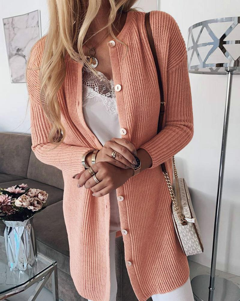 Solid Long Sleeve Buttoned Longline Sweater