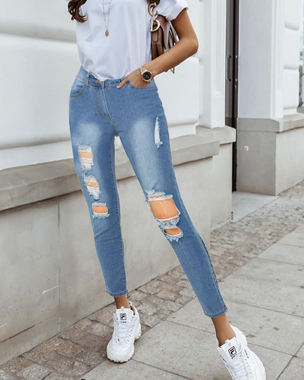 High Waist Cutout Ripped Jeans