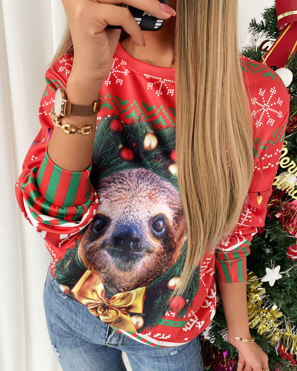 Christmas Graphic Print Long Sleeve Sweatshirt
