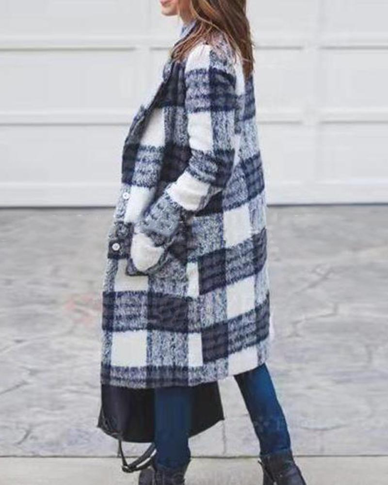 Plaid Button Long Trench Coat