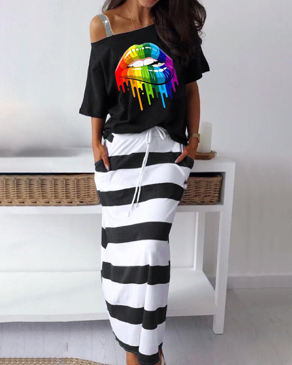 Lip Print Cold Shoulder T-Shirt & Striped Skirt Set