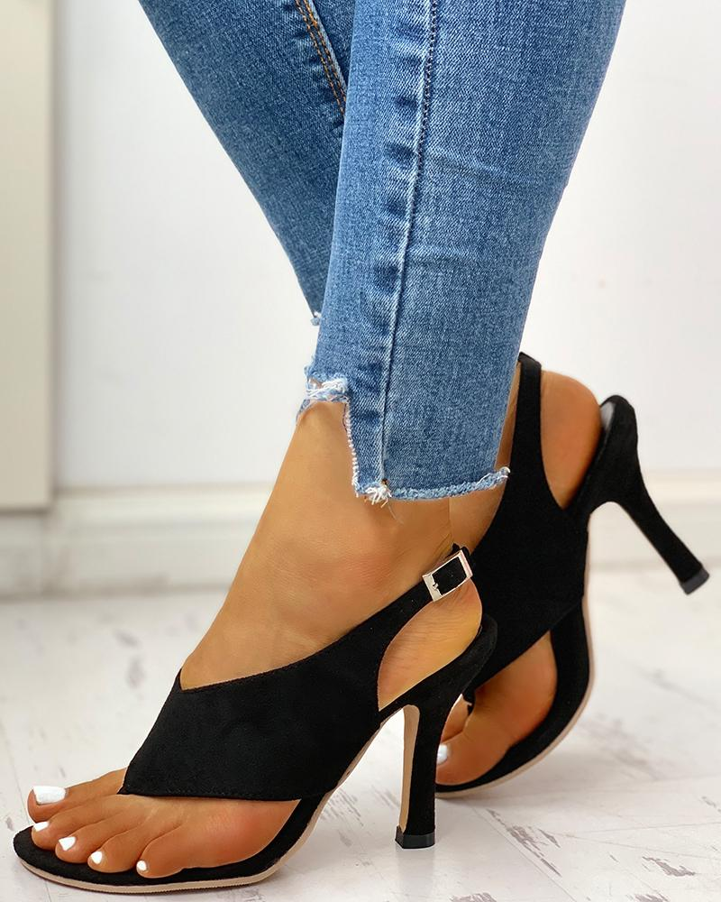 Toe Post Slingback Thin Heeled Sandals