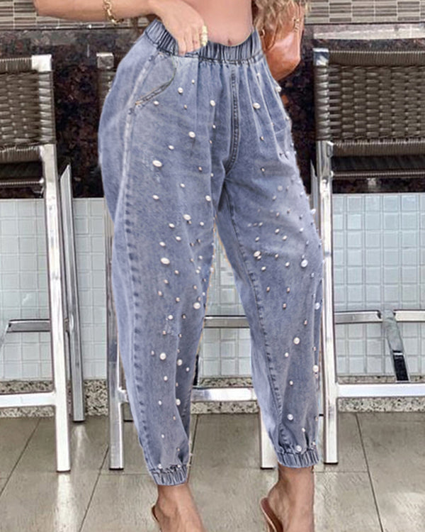 Beaded High Waist Pocket Design Jeans