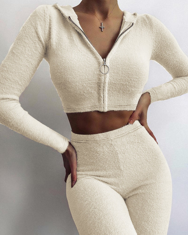 Fluffy Zipper Design Hooded Crop Top & Skinny Pants Set