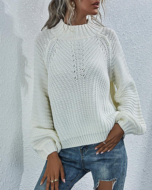 Plain Long Sleeve Basics Sweater