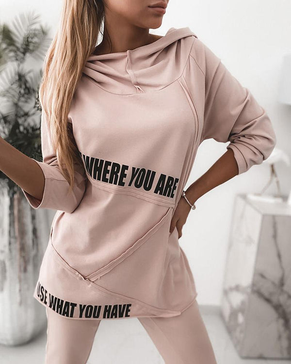 Letter Print Long Sleeve Hooded Top & Drawstring Pants Set