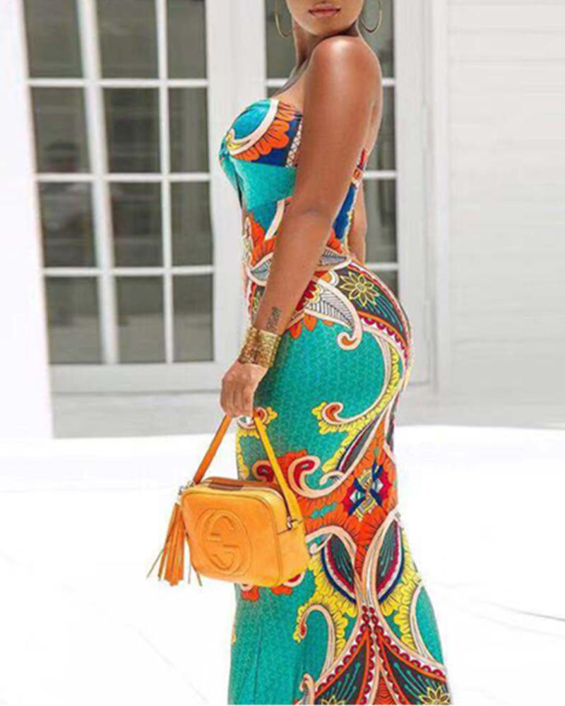 Exotic Print Twist Front Strapless Dress