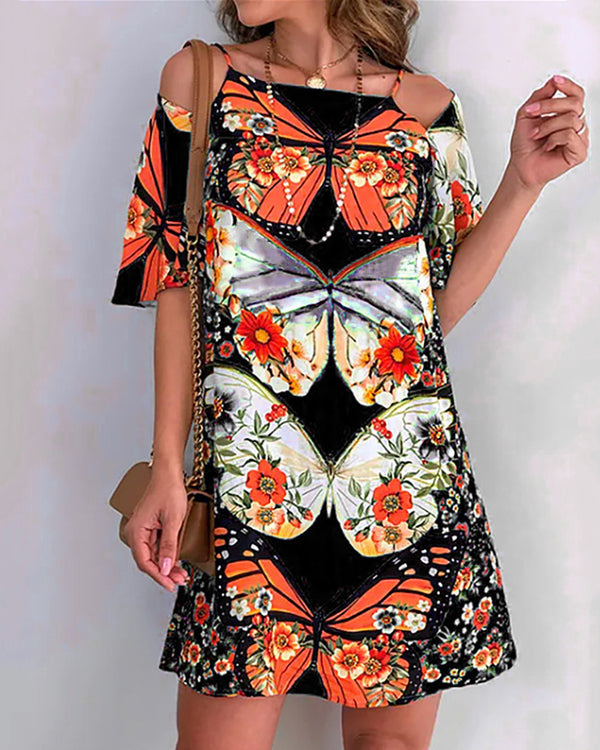 Butterfly Print Cold Shoulder Backless Dress