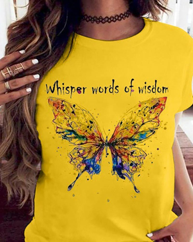 Butterfly Print Short Sleeve Casual T-shirt