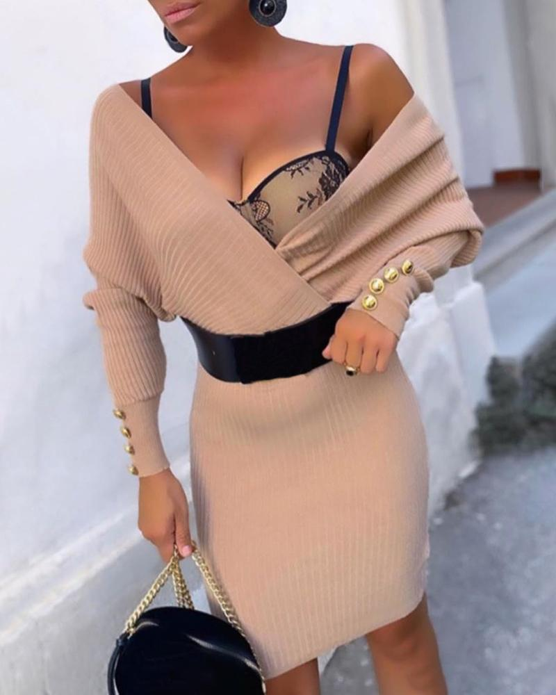 Buttoned Ribbed Batwing Sleeve Sweater Dress