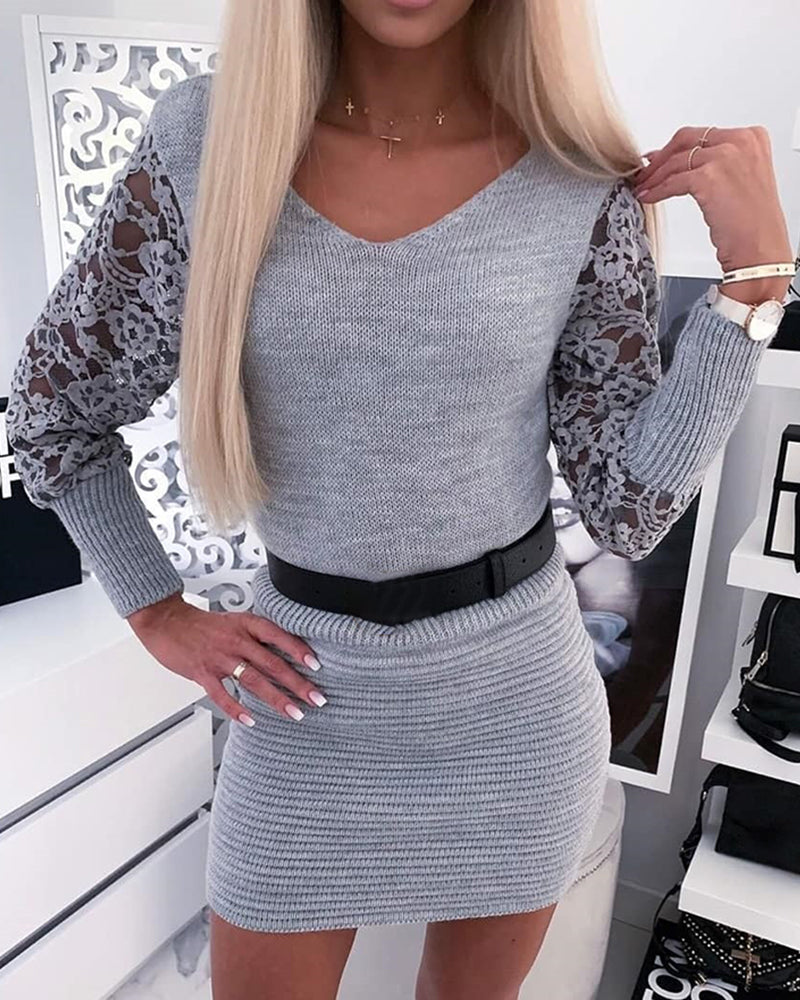 V-Neck Long Sleeve Lace Insert Ribbed Sweater Bodycon Dress