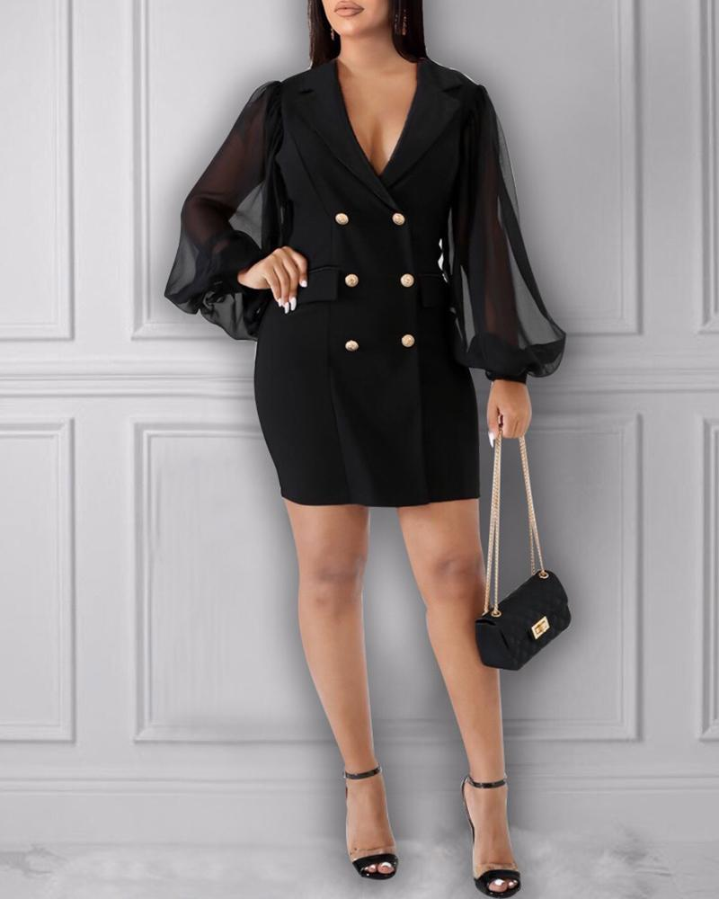 Notched Collar Double-breasted Sheer Mesh Insert Blazer Dress