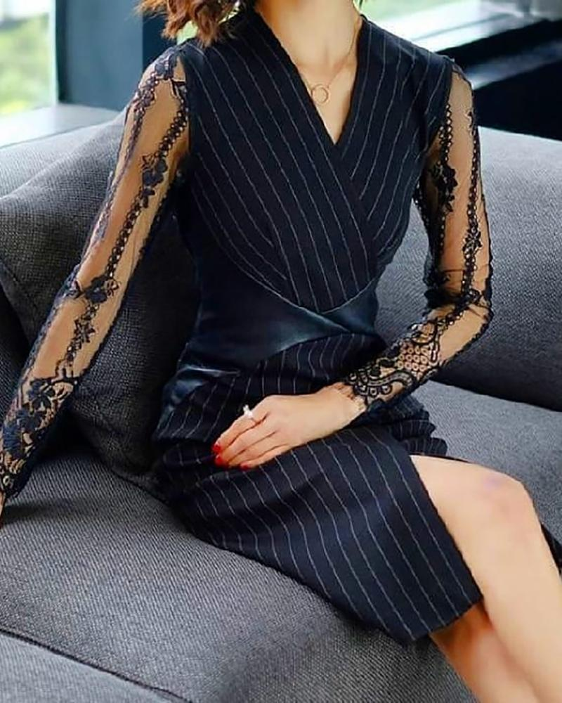 Lace Embroidery Patchwork See Through Slit Dress