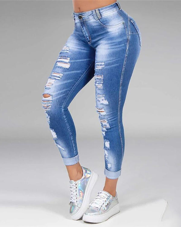 High Waist Ripped Casual Jeans
