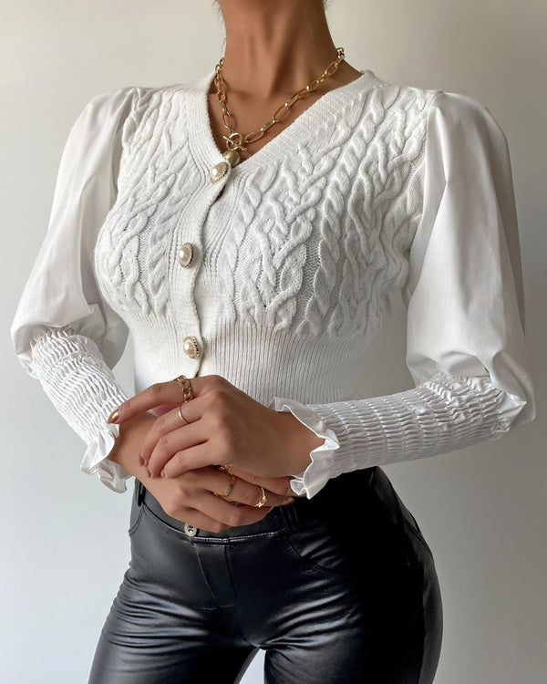 Puffed Sleeve Shirring Design Ruffles Top