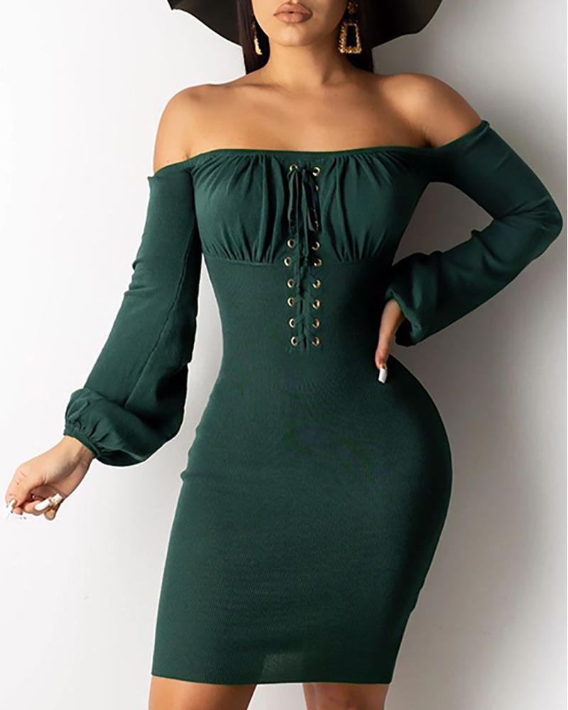 Eyelet Design Off Shoulder Bodycon Dress