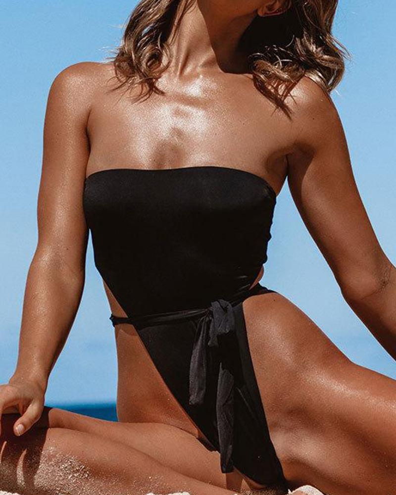 Strapless One-Piece Swimwear