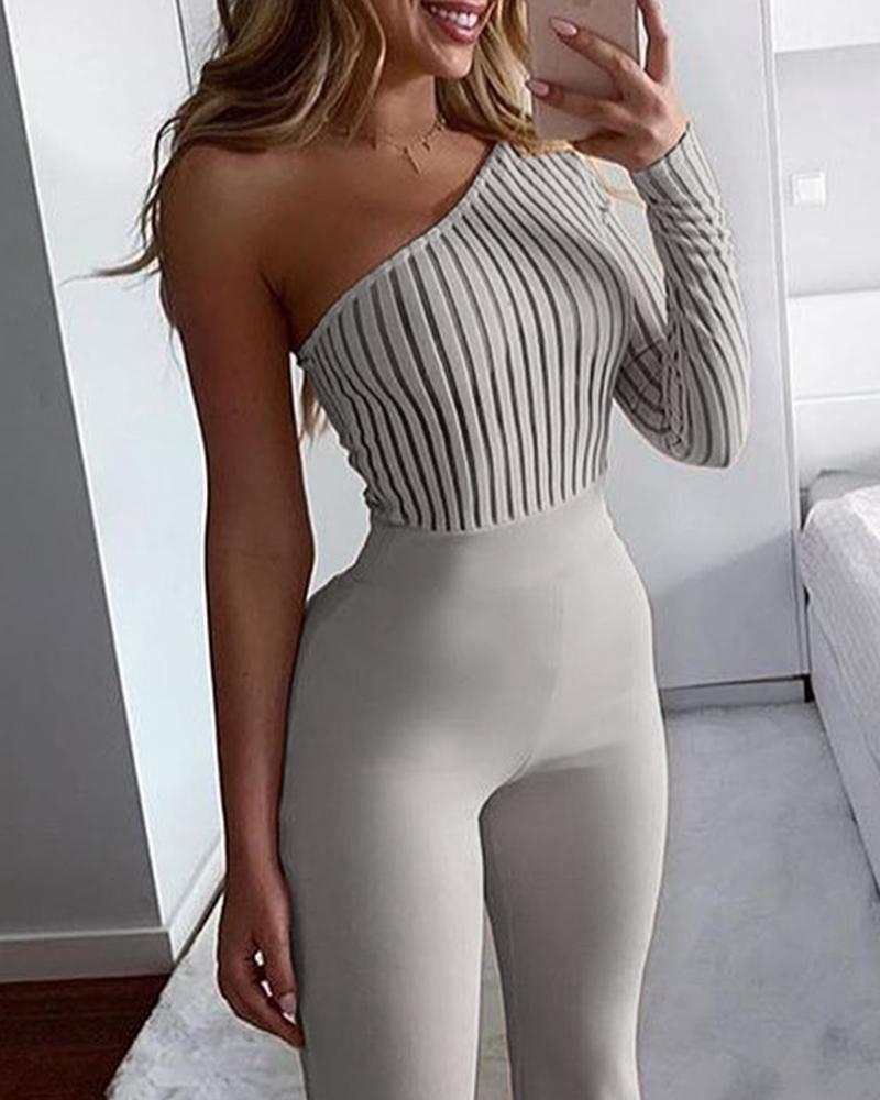 One Shoulder Knitted Bodycon Jumpsuit