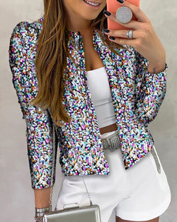 Glitter Long Sleeve Sequins Coat