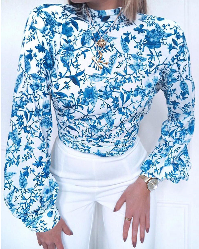 Mock Neck Backless Tied Porcelain Print Ruched Blouse