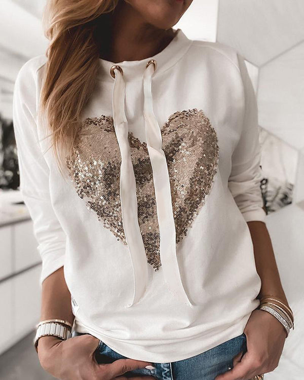 Sequin Heart Pattern Drawstring Sweatshirt