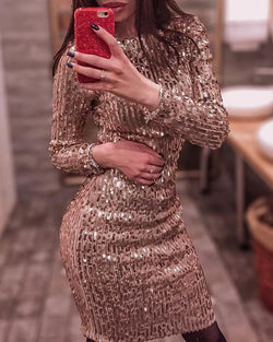 Glitter Round Neck Long Sleeve Sequins Dress
