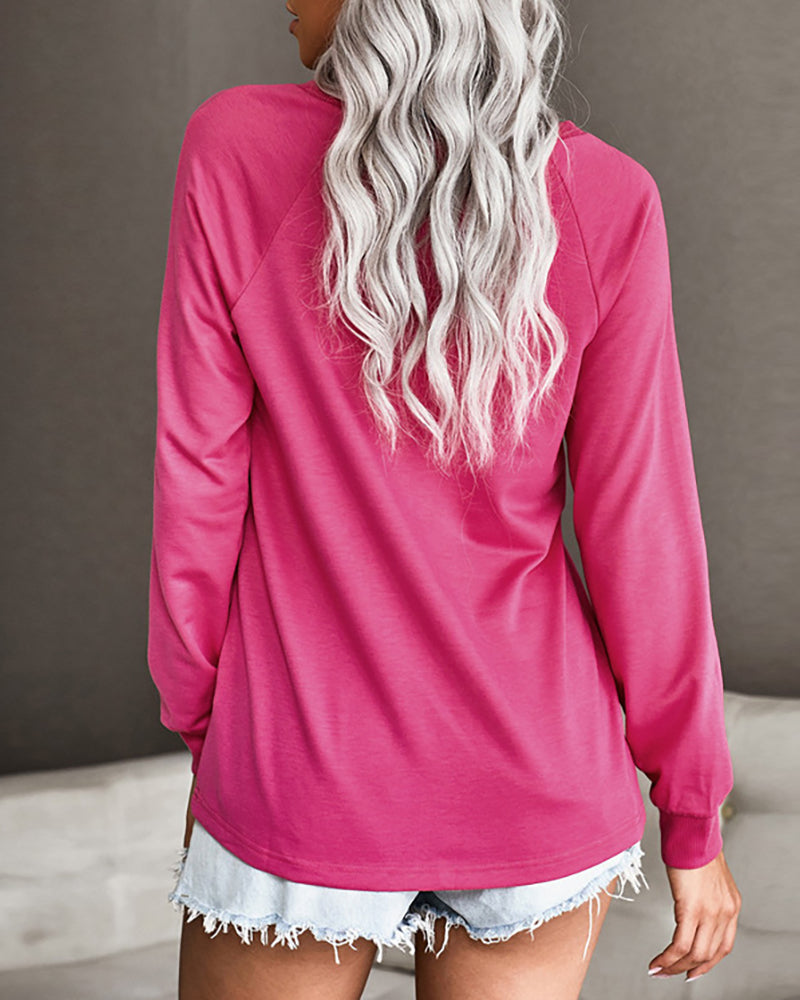 Letter Print Long Sleeve Casual Top