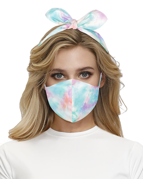 Tie Dye Print Hairband Breathable Face Mask